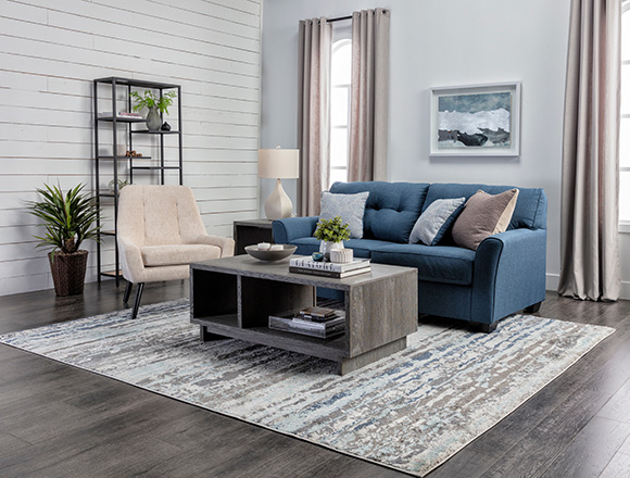 Coastal Living Room With Jacoby Denim Sofa