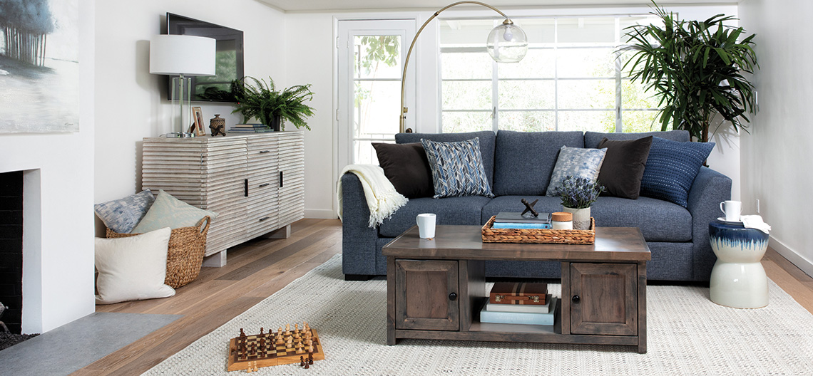 coastal Living Room with Cohen Down 2 Piece Sectional