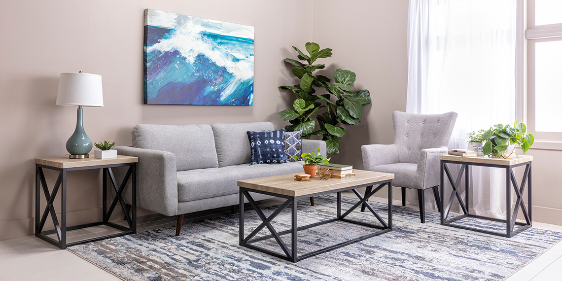 coastal Living Room with Ginger Grey Sofa