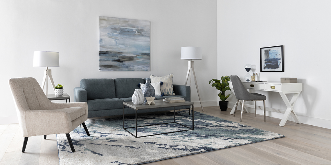 Coastal Living Room with Aaron Steel Blue Sofa | Living Spaces