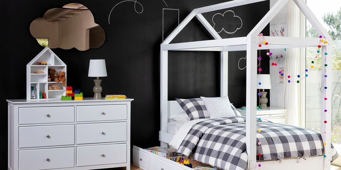 contemporary Bedroom with Taylor White Full Canopy House Bed With 3- Drawer Storage