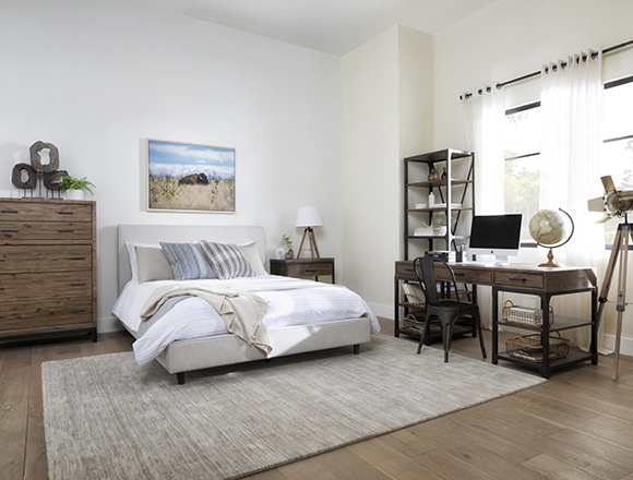 country-rustic Bedroom with Dean Sand Queen Upholstered Panel Bed