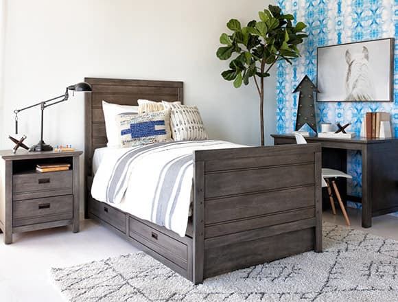 country-rustic Bedroom with Owen Grey Twin Panel Bed W/Trundle Storage