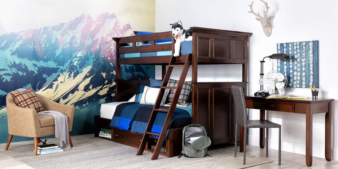 country-rustic Bedroom with Dalton Twin Over Full Bunk Bed With Drawer Base