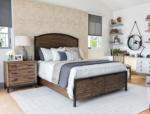 Country Rustic Bedroom With Foundry Queen Panel Bed Storage