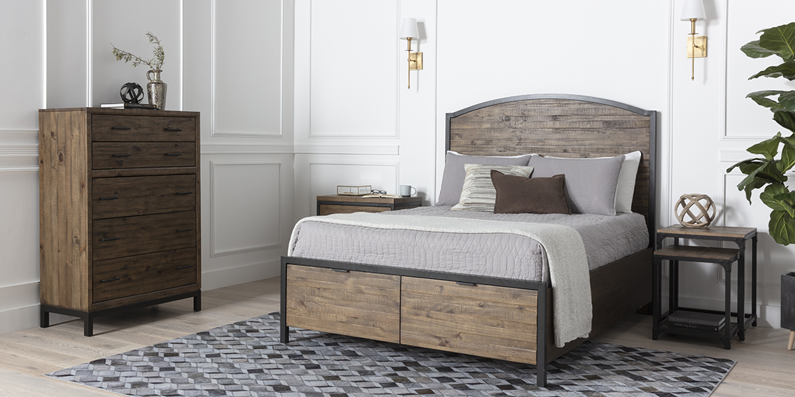 country-rustic Bedroom with Foundry Queen Panel Bed With Storage