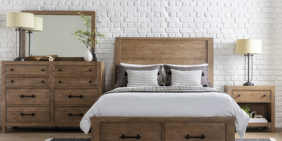 country-rustic Bedroom with Conrad Eastern King Panel Bed With Storage