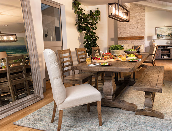 country-rustic Dining Room with Caden Rectangle Dining Table