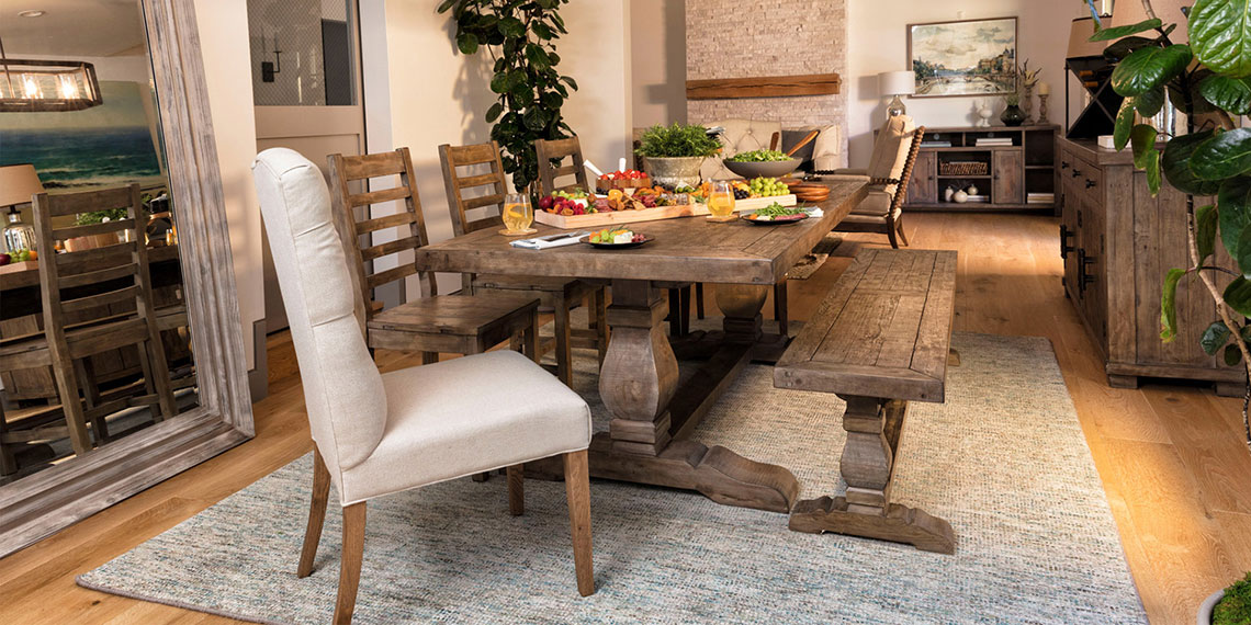Pleasing Country Rustic Dining Room With Caden Rectangle Dining Table Interior Design Ideas Lukepblogthenellocom