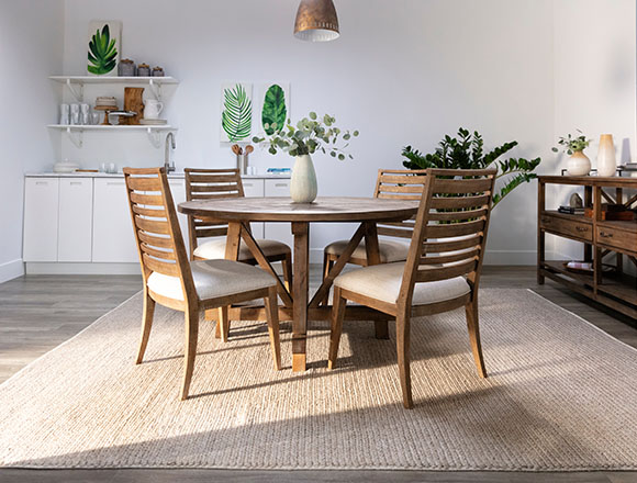 country-rustic Dining Room with Craftsman 5 Piece Round Dining Set With Side Chairs