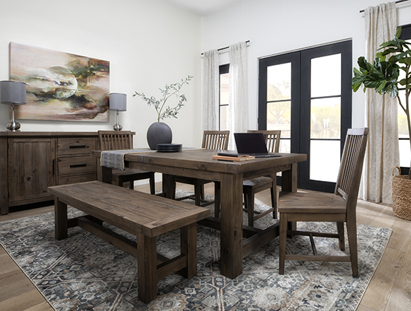 country-rustic Dining Room with Gables 6 Piece Extension Dining Set