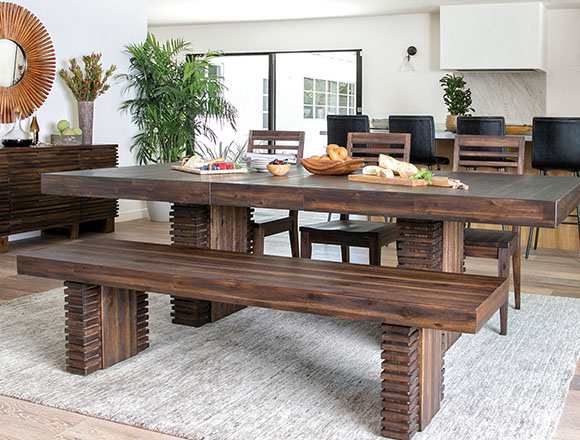 Country Rustic Dining Room With Teagan Extension Dining Table
