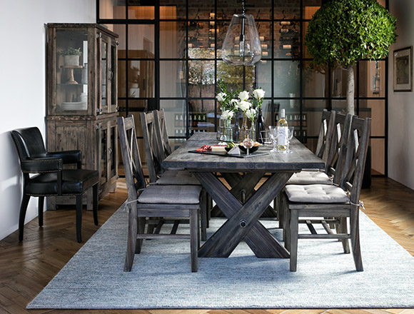Country Rustic Dining Room With Mallard Extension Dining Table