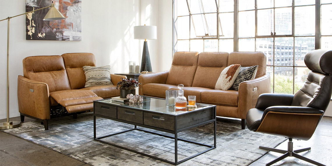 country-rustic Living Room with Torben Brown Leather Power Reclining Sofa W/Usb