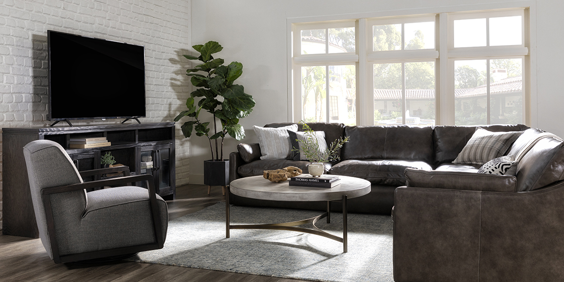 country-rustic Living Room with Marcello Leather 5 Piece Sectional