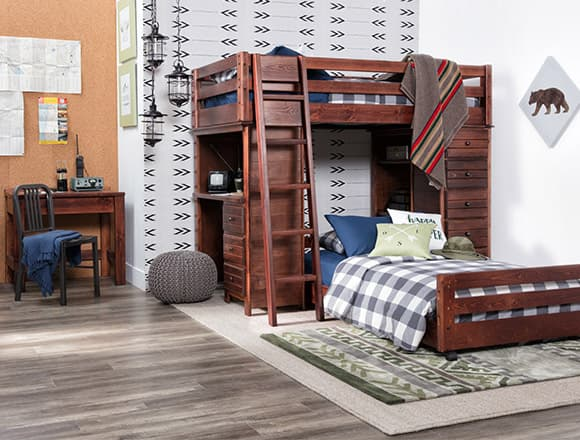Country-rustic Sedona Twin Over Twin Loft Bunk With Chest & Desk