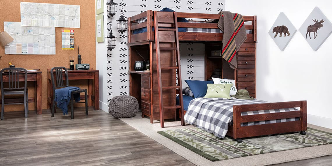 Country-rustic with Sedona Twin Over Twin Loft Bunk With Chest & Desk