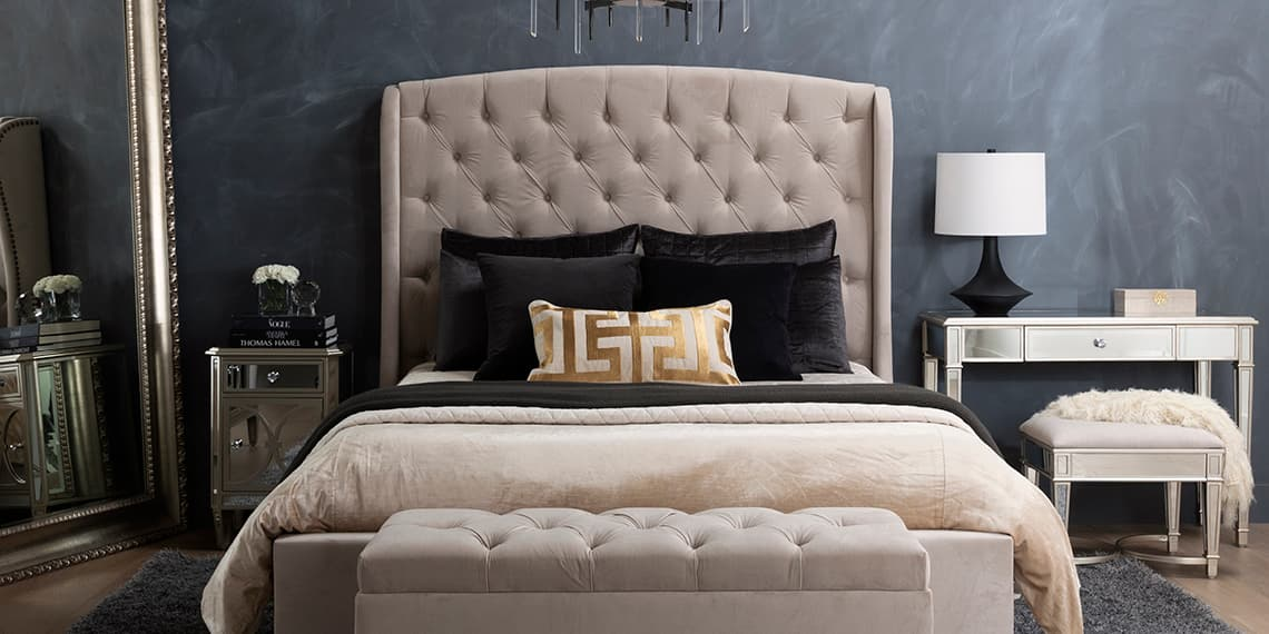 glam Bedroom with Mariah Queen Velvet Upholstered Panel Bed