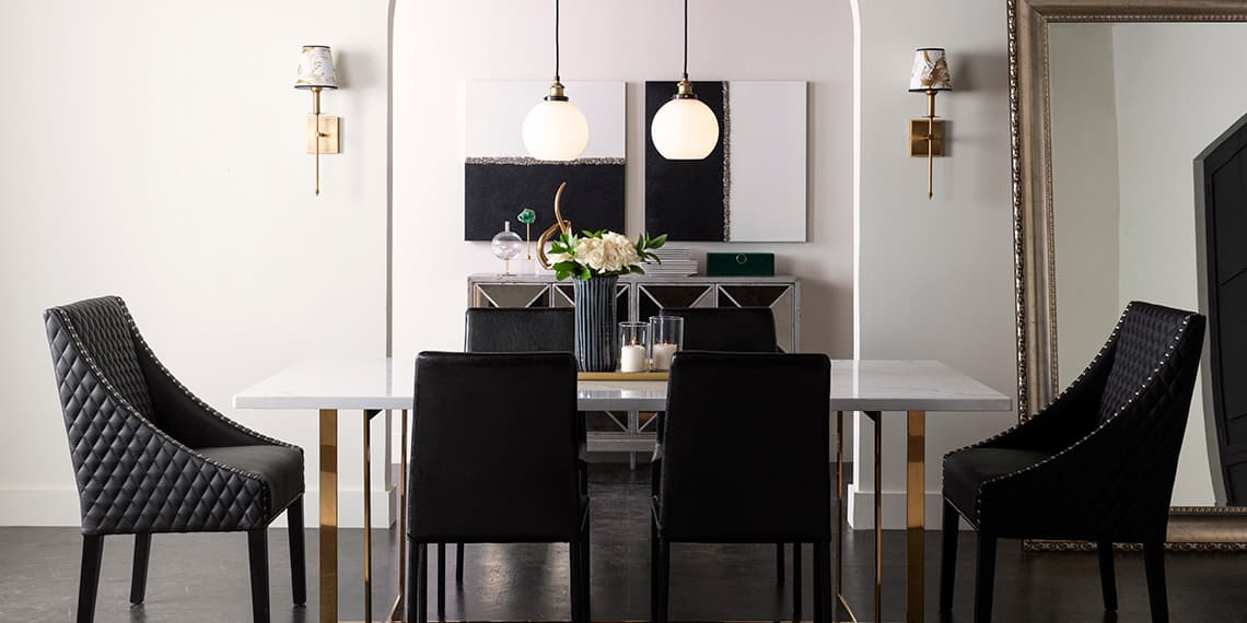 glam Dining Room with White Stone Top Dining Table