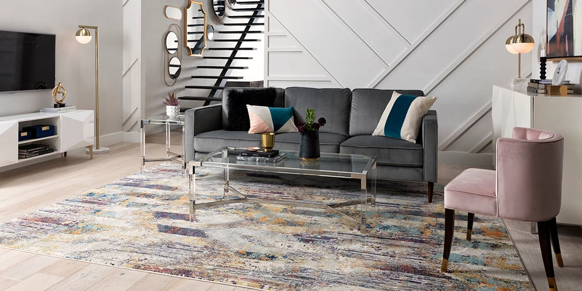 glam Living Room with Fairfax Steel Grey Velvet Sofa