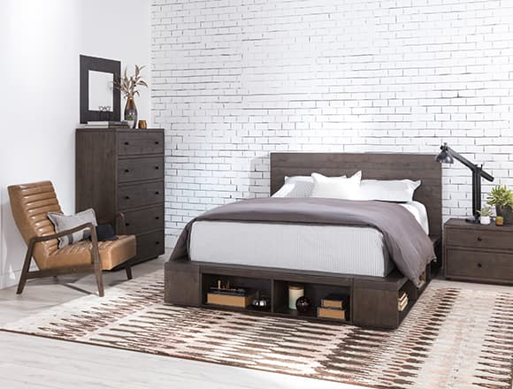 industrial Bedroom with Dylan Queen Platform Bed