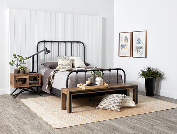 industrial Bedroom with Knox Queen Metal Panel Bed