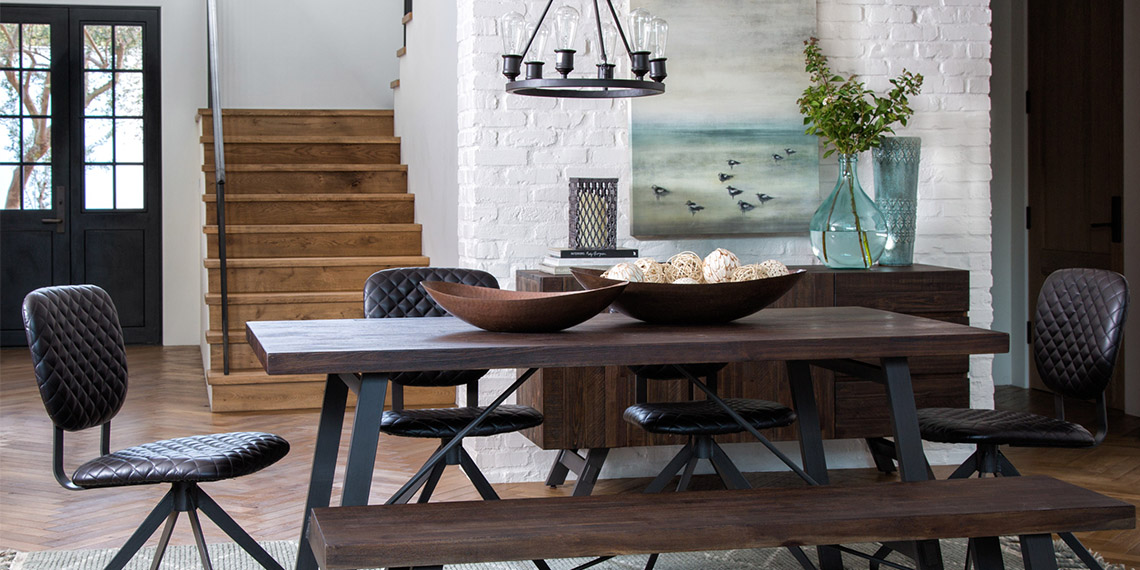 Metal Industrial Dining Room With Omni Dining Table Under 100