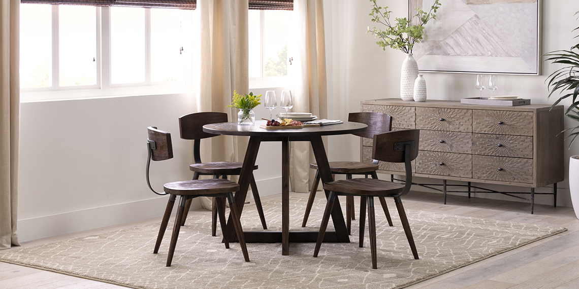 industrial Dining Room with Cleve Round Dining Table