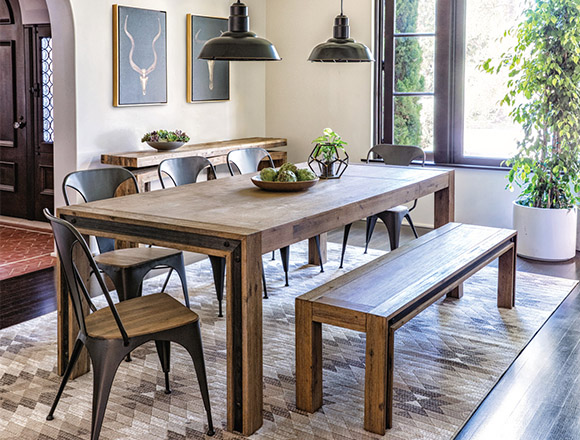 Lovely Industrial Dining Room With Amos Extension Dining Table