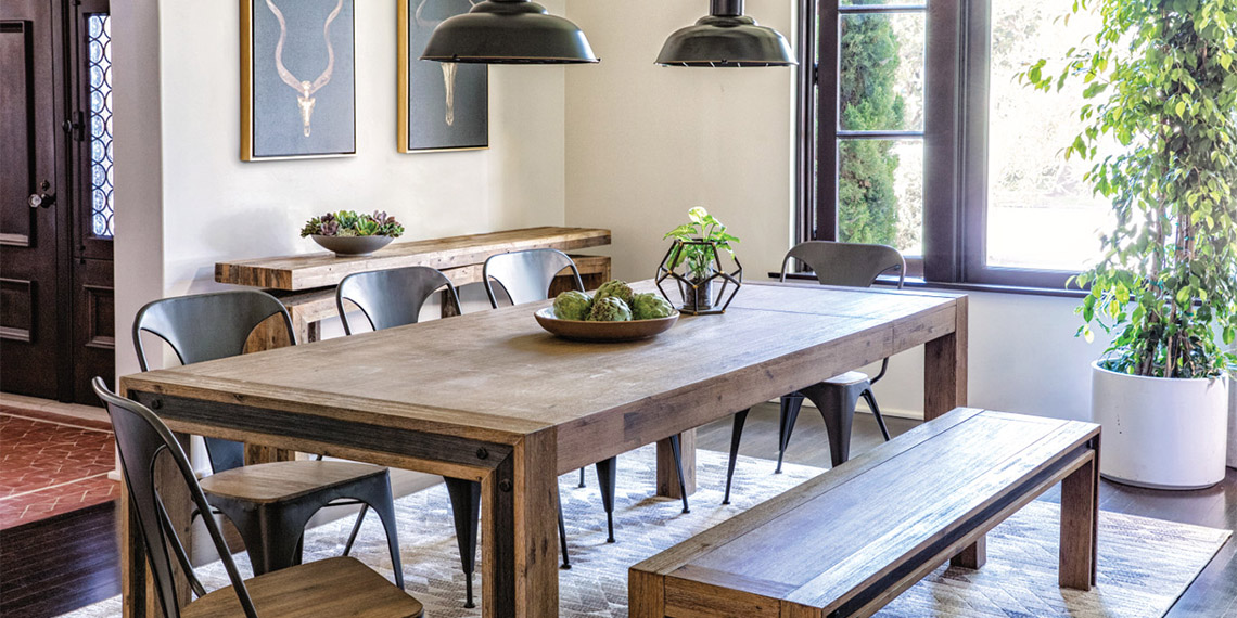 Transitional Industrial Dining Room With Amos Extension Dining Table