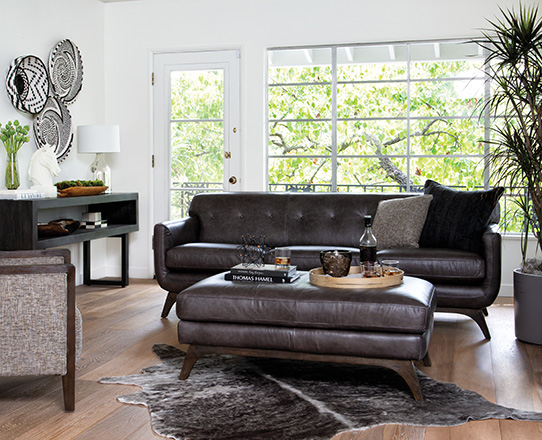 industrial Living Room with Cosette Leather Sofa