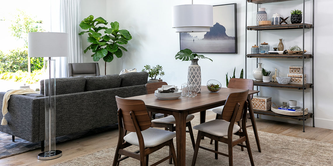 mid-century Dining Room with Carly 5 Piece Rectangle Dining Set