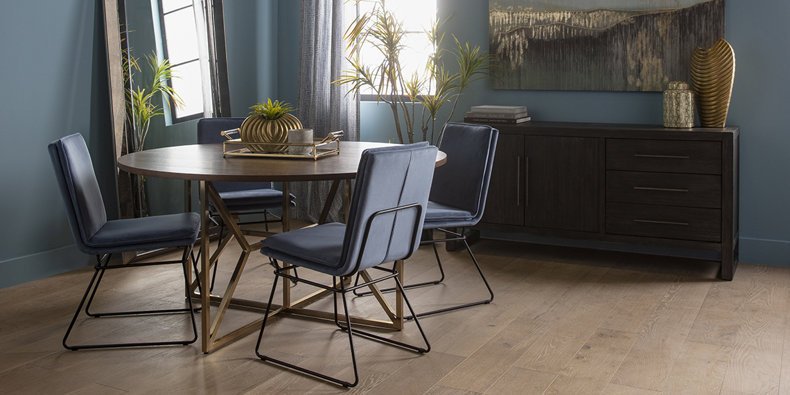 mid-century Dining Room with Trina Round 5 Piece Dining Table With York Chairs