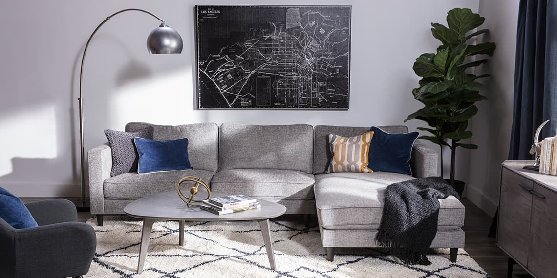 mid-century Living Room with Cosmos Grey 2 Piece Sectional W/Raf Chaise