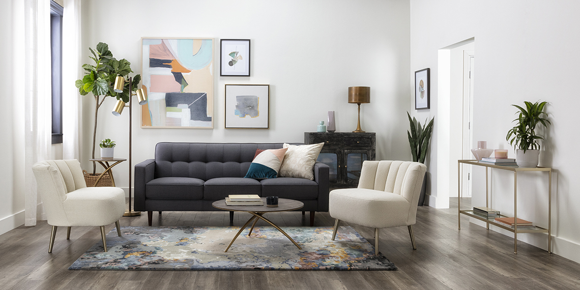 mid-century Living Room with London Dark Grey 82
