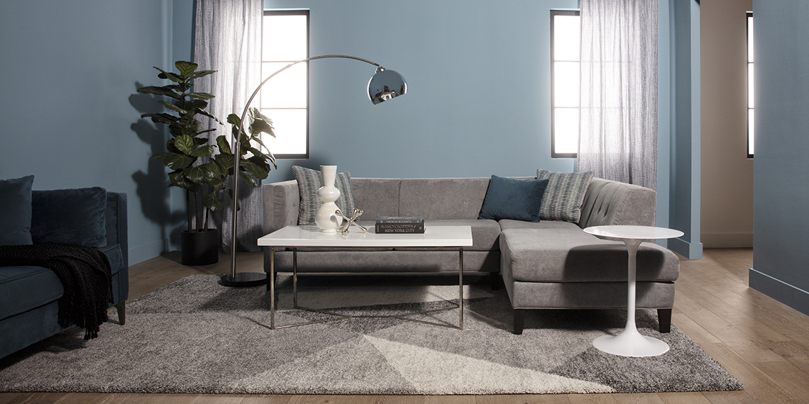 mid-century Living Room with Avery II 2 Piece Sectional With Left Facing Armless Chaise