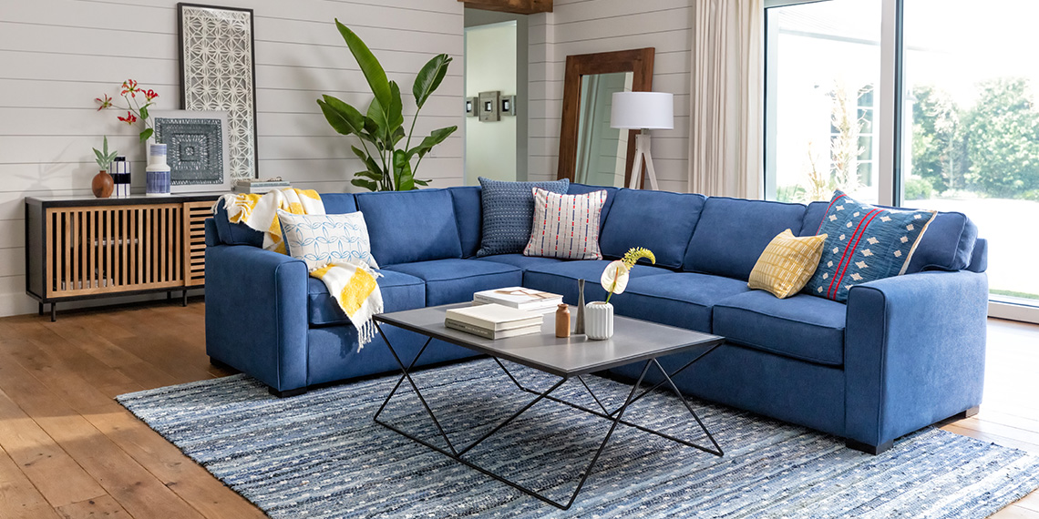mid-century Living Room with Cypress II 3 Piece Sectional With Right Arm Facing Love & Armless Chair