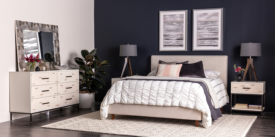 modern Bedroom with Dean Sand Queen Upholstered Panel Bed