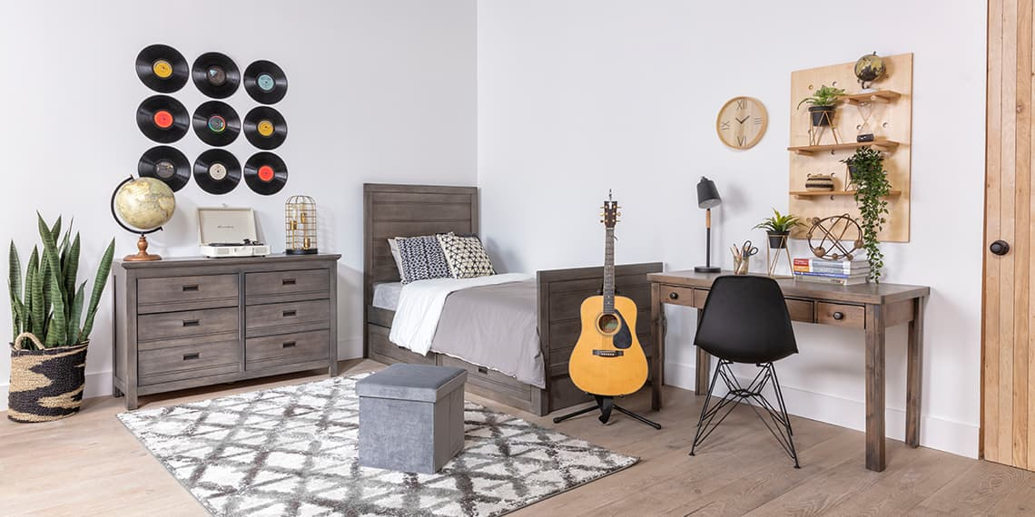 modern Bedroom with Owen Grey Twin Bookcase Bed W/Trundle Storage