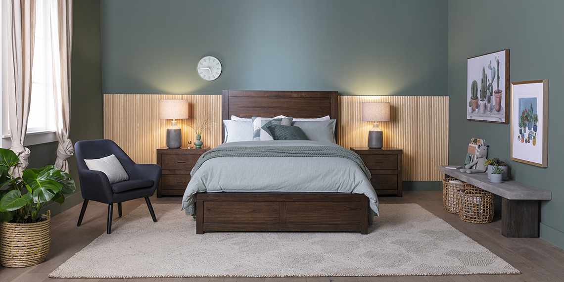 modern Bedroom with Riley Brownstone Queen Panel Bed With USB
