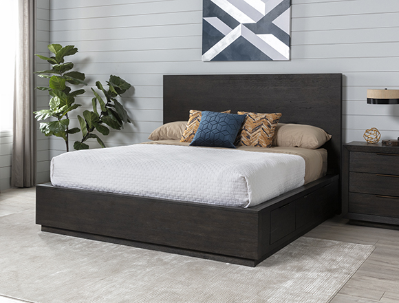 modern Bedroom with Pierce Queen Panel Bed W/Storage