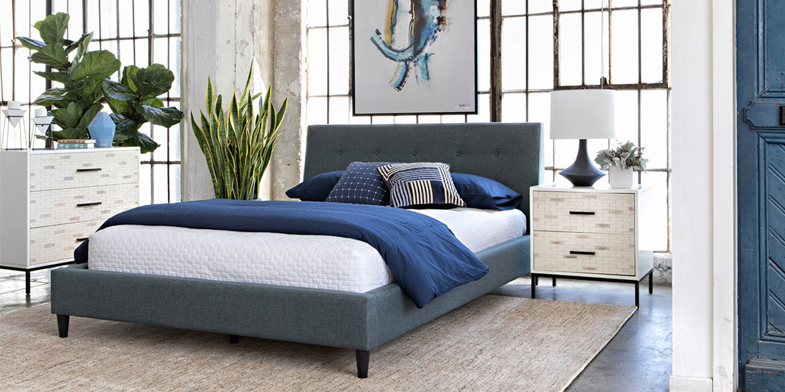 modern Bedroom with Kenneth Queen Upholstered Panel Bed