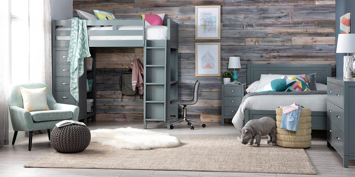 contemporary Bedroom with Hayden Grey Loft Bed