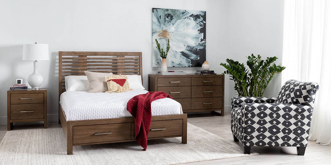 Modern bedroom with kevin queen panel bed with storage - Modern queen bed with storage ...