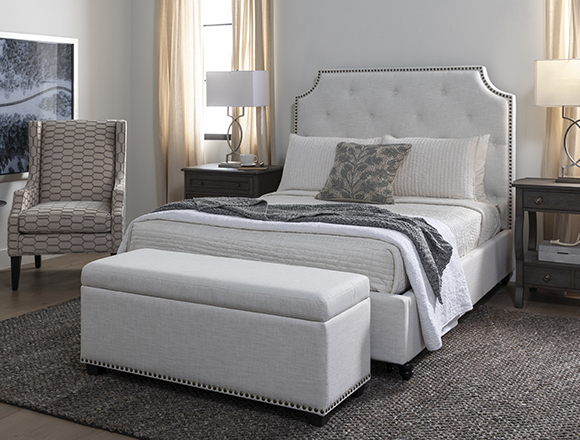 modern Bedroom with Sophia II Storage Bedroom Bench