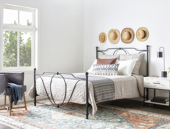 modern Bedroom with Gracie Eastern King Metal Panel Bed