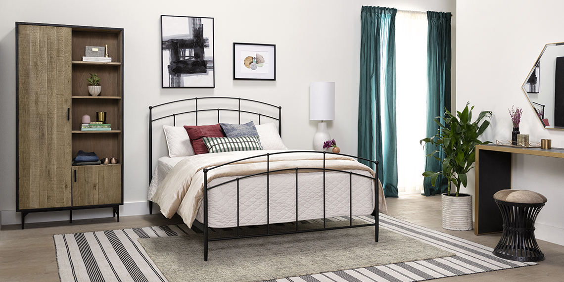 modern Bedroom with Claire Queen Metal Panel Bed