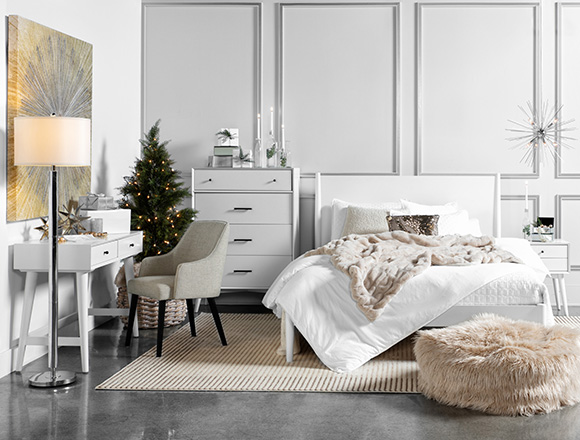 modern Bedroom with Alton White Queen Platform Bed