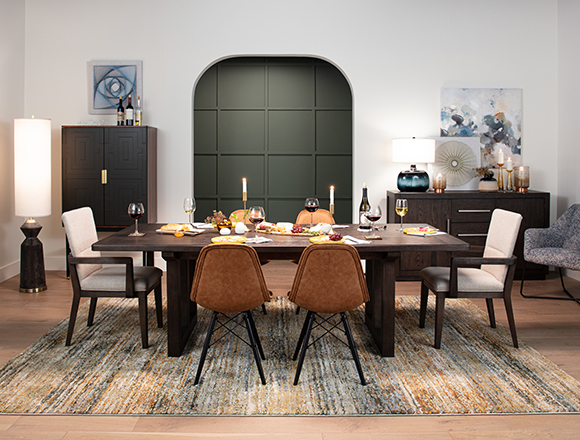 modern Dining Room with Helms Rectangle Dining Table