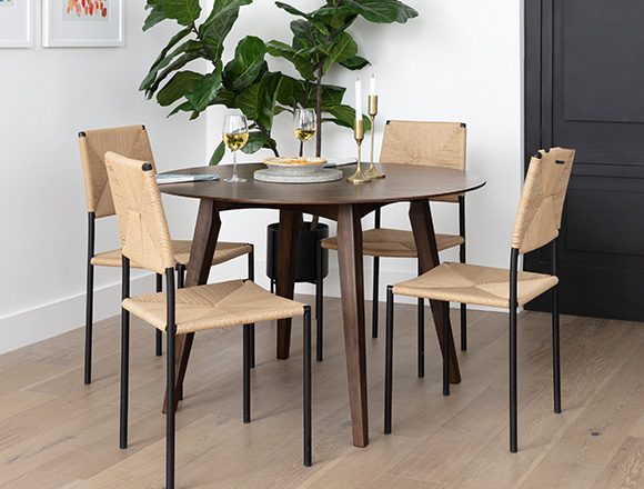 modern Dining Room with Rogers Round Dining Table